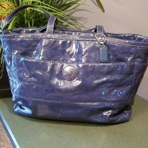 Coach Patent Leather Diaper Travel Bag Blue 19256